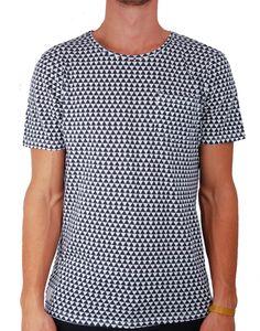 T-shirt bleu imprimé triangles pocket Native Youth - vêtements homme, manteau homme, parka homme, besace homme