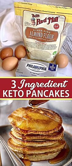 3 Ingredient Keto Pancakes Easy Low Carb Breakfast Idea Looking for easy keto breakfast recipes besides just eggs These quick and easy keto cream cheese pancakes are made. Keto Cream Cheese Pancakes, Low Carb Pancakes, Pancakes Easy, Homemade Pancakes, Breakfast Pancakes, Cream Cheese Keto Recipes, Breakfast Gravy, Almond Flour Pancakes, Cream Cheeses