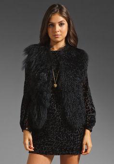 DOLCE VITA Roy Fur Vest in Black