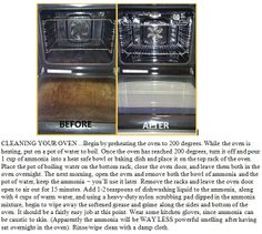 Cleaning your oven. Other pins of this method say to set the oven at 150 or your lowest setting. Other instructions remain the same.