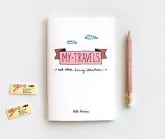 Diario de viaje personalizado y lápiz conjunto, Stocking Stuffer regalo conjunto, lindo Cuaderno reciclado - mis viajes y atrevidas aventuras de HappyDappyBits en Etsy https://www.etsy.com/es/listing/97870280/diario-de-viaje-personalizado-y-lapiz