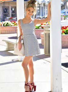 Striped dress girls ftv