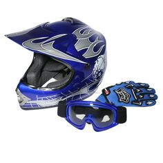 XFMT Youth Kids Motocross Offroad Street Dirt Bike Helmet Goggles Gloves Atv Mx Helmet Blue Skull M. Head Circumference: Small:19.2 / 19.7 Inches; Medium:20.1 / 20.5 Inches; Large:20.9 / 21.2 Inches. Pacakge Included:1x Helmet,1x Goggles,1 Pair Gloves,1xHelmet Bag. Great and Beautiful UV protective finished,Light weight extremely durable. Heavily cushioned and comfortable interior, well vented all purpose product for off-road riding. Sleek modular design,Flip up modular helmets.