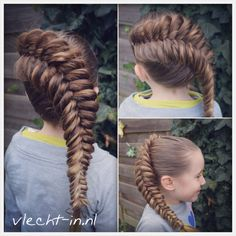 Dutch fishtail braid with ribbon.