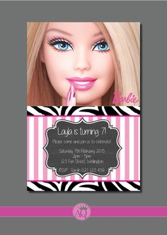 Barbie Kids Invitation - YOU PRINT custom Birthday party invite by QueenOfAdmin on Etsy https://www.etsy.com/listing/222058299/barbie-kids-invitation-you-print-custom