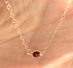 Dainty 14 Kt Solid Gold Necklace with Red by AudreyLeeDesigns