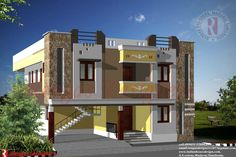 Front elevation of house design in india - House and home design House Roof Design, 2 Storey House Design, Village House Design, Facade Design, Facade House, Modern House Design, Wall Design, Exterior Design, Door Design