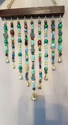 For Inspiration - no tutorial Wire Crafts, Bead Crafts, Fun Crafts, Jewelry Crafts, Wind Chimes Craft, Curtain Inspiration, Hanging Beads, Beaded Curtains, Sun Catcher