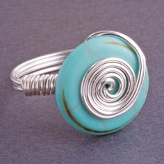 Turquoise Ring Blue Cocktail Ring  Recycled by georgiedesigns, $22.00    Love this!