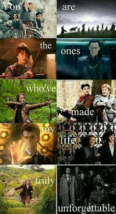 Thank you, fandoms. Narnia LOTR Harry Potter Avengers Hunger Games Merlin Doctor Who (haven't seen it yet) Sherlock The Hobbit (need to watch it) and Supernatural *and I'm part of the rest of these fandoms already lol! Book Memes, Book Quotes, Superwholock, Percy Jackson, Hunger Games, Doctor Who, 10th Doctor, Cultura Nerd, Citations Film