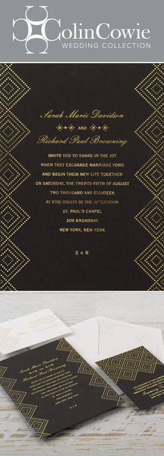 Art deco style with a modern twist, these stunning wedding invitations feature gorgeous gold foil sparkling against a pitch black invitation card. The contrast is captivating, the design is mesmerizing and your wedding details are at the center of it all. #artdecowedding #colincowie #invitationsbydawn