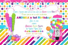 SWEET SHOPPE PINK birthday invitation  you by PrettyPartyCreations, $11.00
