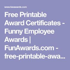 Free Award Certificates  Recognition Award Template  Funawards