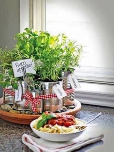 small indoor herb garden ideas tin cans gravel ribbons name tags