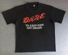 6558a7476 DARE 80's Shirt Vintage/ RARE Screen Stars Original 50/50 Poly/Cotton Blend  Rave Tshirt Super Soft & Thin/ D.A.R.E. Burnout Black Medium