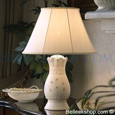 Belleek China Tara Lamp and Shade Belleek China, Belleek Pottery, Home Board, Design Elements, Sweet Home, Home And Garden, Table Lamp, Shades, Hand Painted
