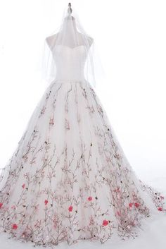 Fabulous Inspiration Embroidered Wedding Dress, White Tulle Long A-line Wrapped Chest Wedding Gown OMW12