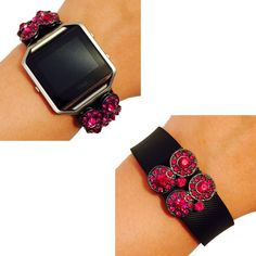Fitbit Blaze, Fitbit Charge Jewelry - Fitbit Fitness Tracker Accessory Bracelet - Double Gold Hematite Circle Pink Grey Rhinestone Studded SICILY Fitbit Charm Accessory (Hematite/Pink, Fitbit Charge). This beautiful charm is handmade to order. It is designed to be snugly secured against your fitness tracker to amplify your look! Instead of wearing a sporty and bare plastic Fitbit BLAZE band, add to your unique style with the bracelets of Weekend Wearables. This product offers the ease and...