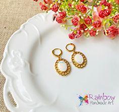 24K gold Earrings White Earrings, Handmade Art, Rainbow, Rain Bow, Rainbows