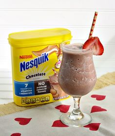 This chocolate covered strawberry smoothie recipe is made with all the goodness of #Nesquik, fresh fruit and milk! (ad)