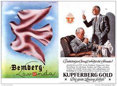 Original-Werbung/ Anzeige 1942 - VIERFARBANZEIGE :KUPFERBERG GOLD SEKT /RÜCKSEITE BEMBERG STOFFE-  ca.100x140 mm