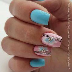 Grey Nail Designs, Short Nail Designs, Classy Nails, Simple Nails, August Nails, Pink Nail Art, Gray Nails, Pretty Nail Art, Flower Nails