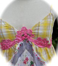 Romantic Boho  Sweet Sun Dress Butterscotch Fushia Roses Cotton Gypsy Cowgirl Prairie Size Small