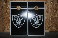 Raiders cornhole set!  Standard sized, w drink holders.