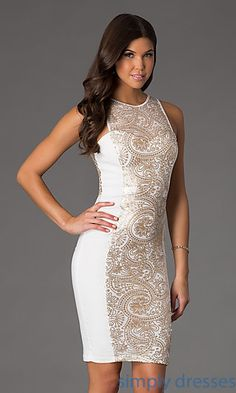 Knee Length Sleeveless Sequin Embellished Dress at SimplyDresses.com