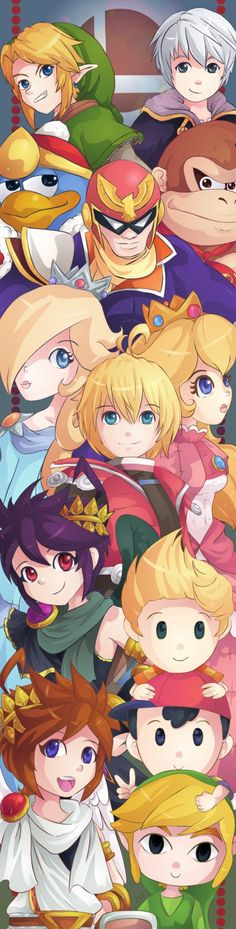 Link, Toon Link, Lucas, Rosalina, Ness, Captain Falcon, Shulk, Donkey Kong, King Dedede, Dark Pit, Robin, Pit and Peach.