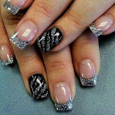 Blk. Silver Tip Nail Art ?