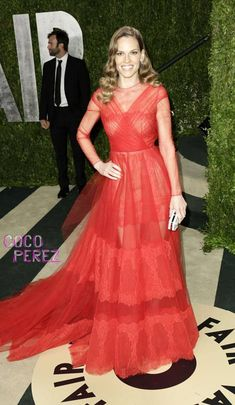 Oscars 2013: Hilary Swank wears Valentino Couture to Vanity Fair party.