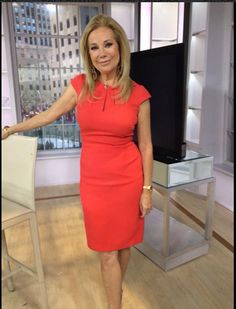 Kathie Lee's Thursday look! Dress by Adrianna Papell and earrings by Kenneth Jay Lane.