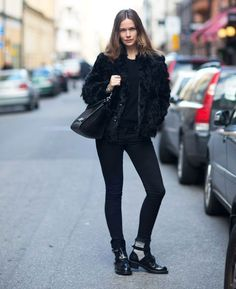 caroline blomst all black cut out boots street style