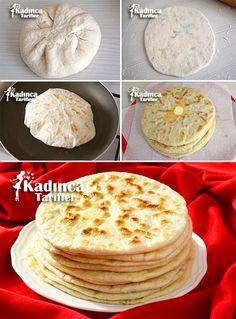 Patatesli Bazlama Tarifi Paratha Bread, Plats Tunisiens, Breakfast Items, Breakfast Recipes, Fresh Fruits And Vegetables, Turkish Cuisine, Turkish Recipes, Pizza Dough, Panes