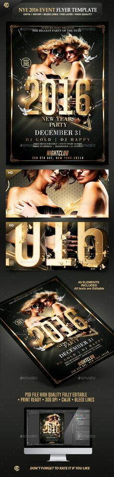 New Year Party Classy Flyer Template PSD #design #nye Download…