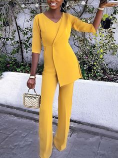 Shop Solid Color Button Irregular Blazer Jumpsuit – Discover sexy women fashion at IVRose Overall, Mode Style, Style Bleu, Classy Outfits, Jumpsuits For Women, Pattern Fashion, African Fashion, Work Wear, Sexy Women