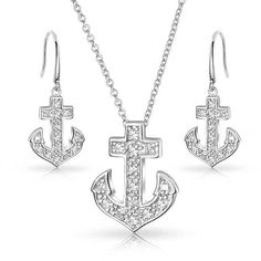 Bling Jewelry Anchor Aweigh CZ Set ($40) ❤ liked on Polyvore featuring jewelry, jewelry sets, clear, jewelry-sets, anchor pendant necklace, clear jewelry, cubic zirconia jewelry, cz jewelry sets and cubic zirconia pendant necklace