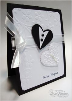 Wedding / Anniversary Card with Embossing and Ribbon