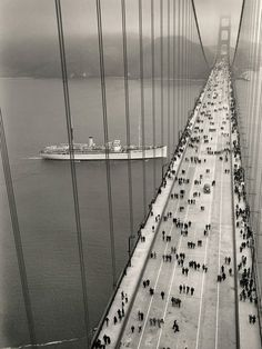 Opening day of the Golden Gate Bridge, 1937.