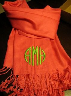 Marley Lilly Monogrammed Solid Pashmina Scarf. I want the orange one with a white monogram. Go VOLS! $27.99