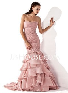 (variety of colors)  $189  Mermaid Sweetheart Sweep Train Chiffon Evening Dress With Ruffle (017013103) - JJsHouse (needs straps)