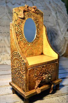 Купить Мини комодик - бежевый, мини-комодик, состаренный стиль, декор для интерьера, заготовки из дерева