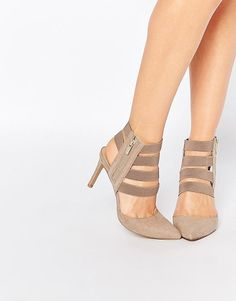 On SALE at 40% OFF! Strappy heeled shoes by London Rebel. Shoes by London Rebel, Suede-look upper, Elastic strap design, Zip fastening to outer foot, Sharp point toe, High hee...
