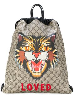 GUCCI Angry Cat print soft GG Supreme drawstring backpack. #gucci #bags #leather #nylon #backpacks #cotton #