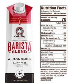 Califia Farms Barista Blend Almond Milk Review Best Almond Milk Brand, Milk Brands, Vegan Milk, Trans Fat, Saturated Fat, Serving Size, Barista, Cholesterol, Farms