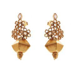 Crystal and pearl temple earrings | Kasturjewels