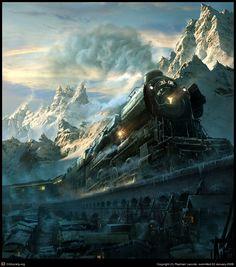 Imponente treno con locomotiva a pietra fantasma corre su un binario sopraelevato su un sbborgo