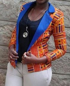 Printed blazer by KarangisCollections on Etsy - Need this one! Not loving the Blue trim that much though African Inspired Fashion, African Print Fashion, Africa Fashion, Fashion Prints, African Print Dresses, African Fashion Dresses, African Dress, African Prints, African Attire