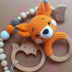 MaterialFor the smaller Fox I used the crochet hookDK yarn in orange, black and safety Crochet Baby Toys, Crochet Amigurumi Free Patterns, Crochet Dolls, Free Crochet, Crochet Fox Pattern Free, Crochet Projects, Stuffed Toys, Knitting, Japanese
